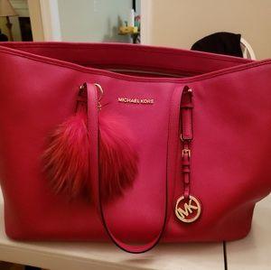 Red Michael kors large jet set handbag